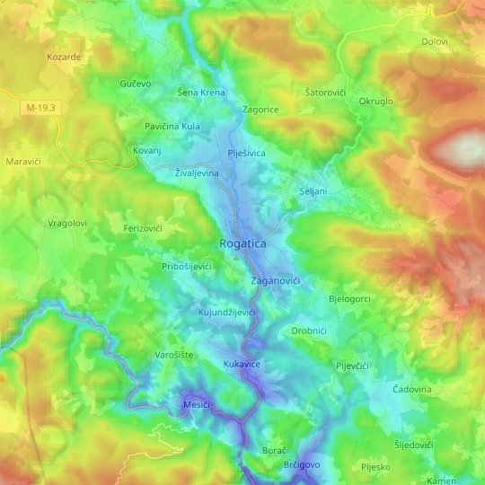 Rogatica topographic map, elevation, relief