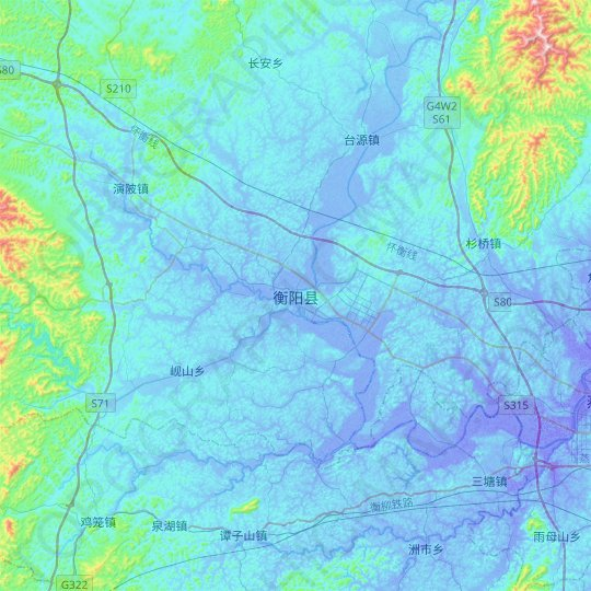 Hengyang topographic map, elevation, relief