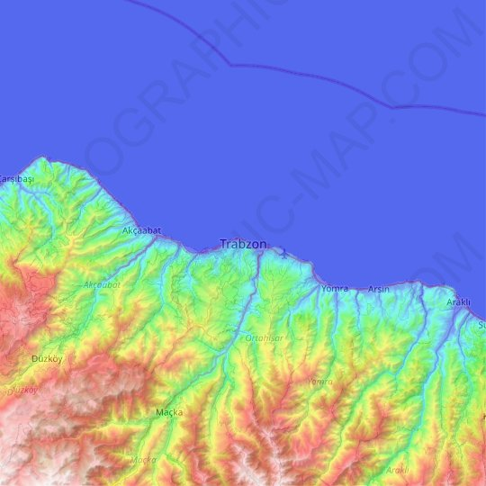 Trabzon topographic map, elevation, relief