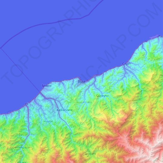 Rize topographic map, elevation, relief