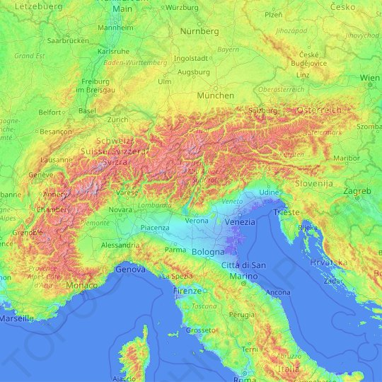 Alps topographic map, elevation, relief