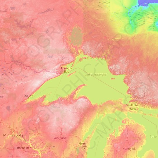 Lake Superior topographic map, elevation, relief
