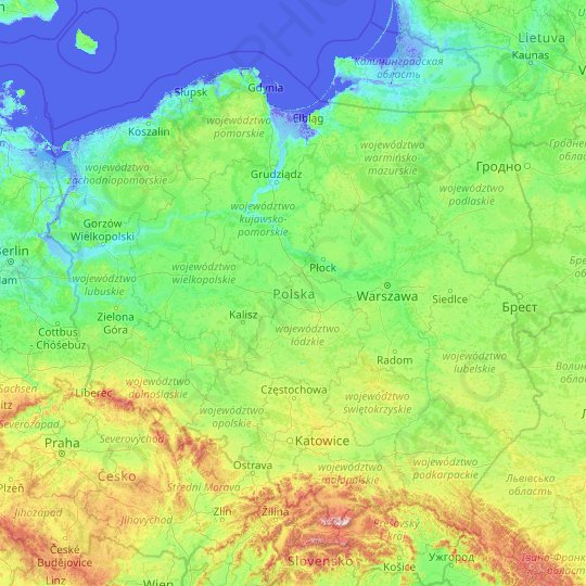Poland topographic map, elevation, relief