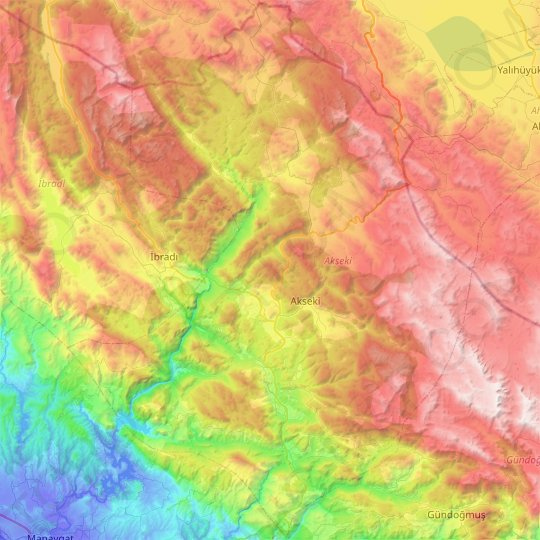 Akseki topographic map, elevation, relief