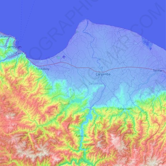 Çarşamba topographic map, elevation, relief