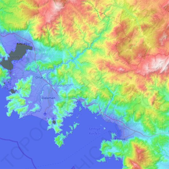 Dalaman topographic map, elevation, relief